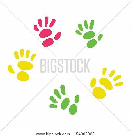 Abstract background, prints of hands of the child, vector illustration. Pattern art finger ink color palm trace hand paint. Colorful design thumb symbol trace hand paint pattern art finger ink color.