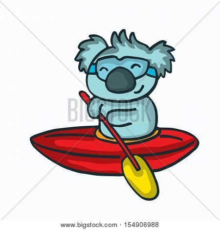 Cartoon koala on the ship vector illustration