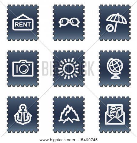 Travel web icons set 5, navy stamp series
