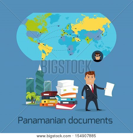Panamanian documents concept vector. Flat design. Financial fraud, tax evasion, money laundering, corruption, investigation, crimes disclosure. international scandal illustration. World politics