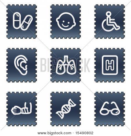 Medicine web icons set 2, navy stamp series
