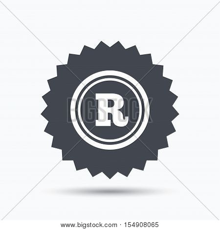 Registered trademark icon. Intellectual work protection symbol. Gray star button with flat web icon. Vector