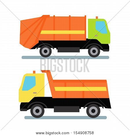 Two orange trucks transportation. Garbage truck with green cabin and orange vehicle. Tipper with yellow cabin and orange vehicle. Truck for assembling and transportation garbage.