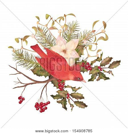 Christmas watercolor decorative composition. Bird poinsettia flowers with Rowan and Holly branch on a white background
