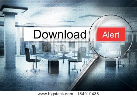 reading download browser search security alert 3D Illustration