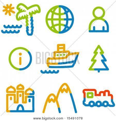 Travel  icons set 1, colour contour series