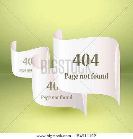 404 Error file not found on website page. Vector illustration.