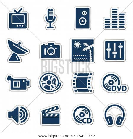 Media web icons, navy sticker series