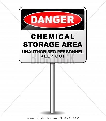 Illustration of chemical storage sign on white background