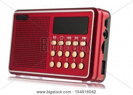 Retro old radio isolated on white background