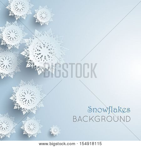 Snowflakes background. New Year and Christmas concept. Winter Xmas theme. Realistic pattern with snowflakes, snow on a sheet of paper. 3D paper silver snowflakes shadow. Place for text. Vector