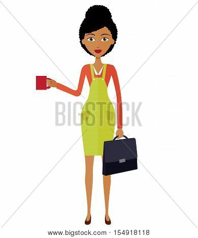 african american young businesswoman standing and drinking coffee in office isolated on white background. Vector.