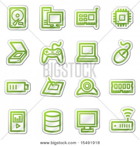 Computers and electronics web icons set 2, green sticker series