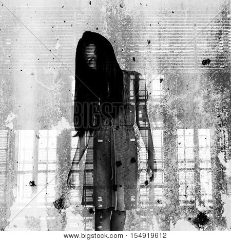 Ghost girl hidden inside of  grunge background