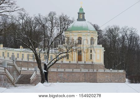 LOMONOSOV, RUSSIA - JANUARY 25, 2015: Church-pavilion of Menshikov's Great Palace, gloomy january day. The historical landmark of the city Oranienbaum