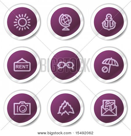 Travel web icons set 5, purple stickers series