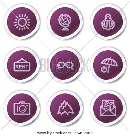 Travel web icons set 5, purple stickers series