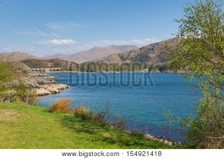 Loch Nan Uamh west coast of Scotland near Arisaig view to railway viaduct that carries the West Highland Line