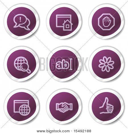 Internet web icons set 1, purple stickers series