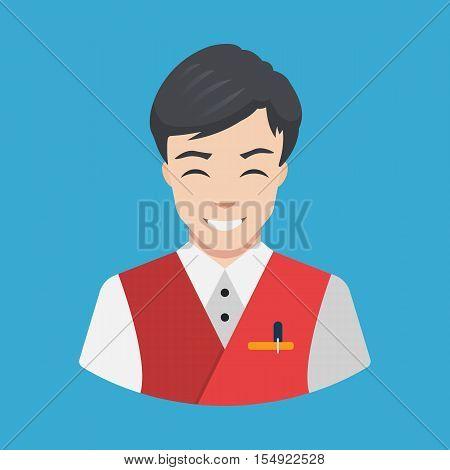 Hotel staff - Waiter Icon vector Flat design Smiling waiter serving Vector illustration