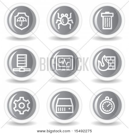 Internet security web icons, circle grey glossy buttons
