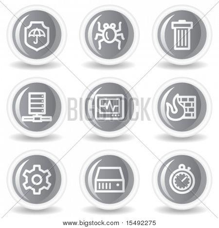 Internet segurança web ícones, botões de brilhante círculo cinzento
