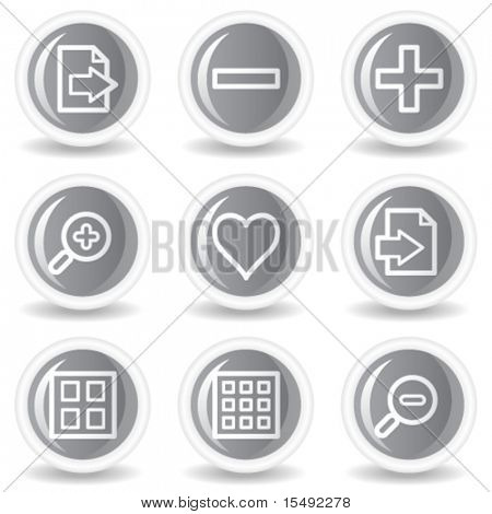 Image viewer web icons set 1, circle grey glossy buttons