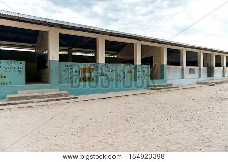 african village school with drawings on the walls in Zanzibar