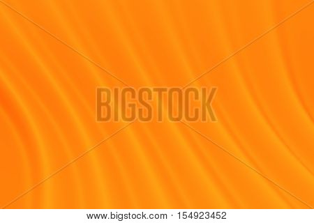 Orange abstraction of orange cloth with waves. 3D rendering background.