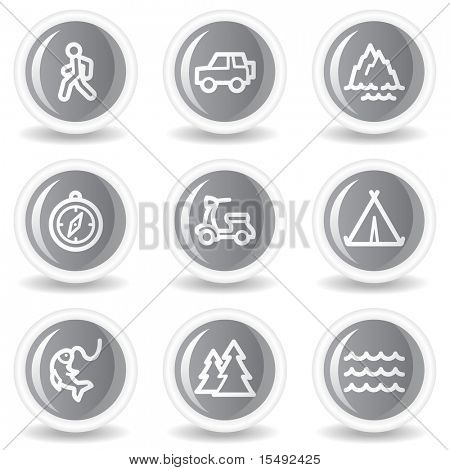 Travel web icons set 3, circle grey glossy buttons