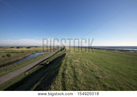 View from Mando dike. Wadden Sea to the right and island to the lleft. Danish national park under UNESCO World Heritage.