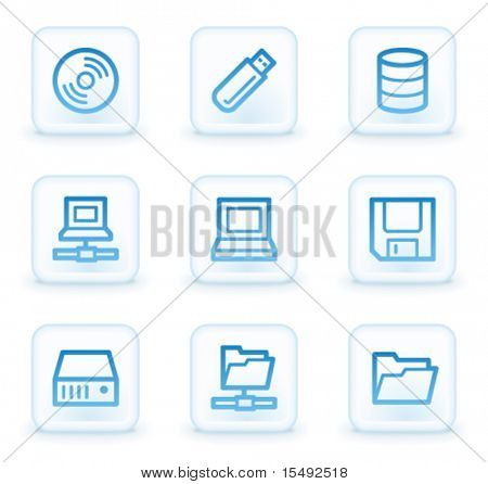 Drives and storage web icons, white square buttons