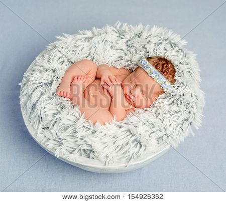 funny newborn girl with headband with flowers in round basket on furry blanket covered with veil