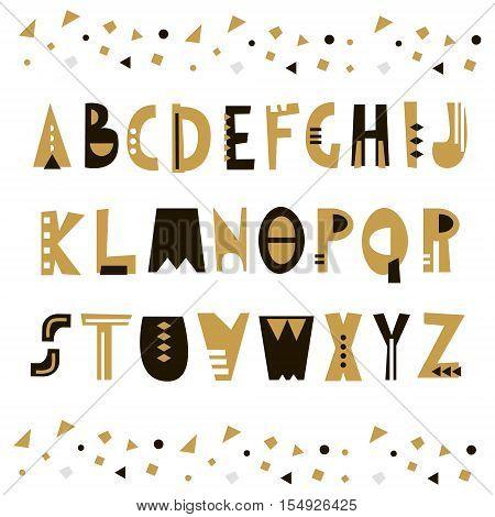 Trendy unusual geometric alphabet. Abstract geometry alphabet. Hipster alphabet. Vector Illustration