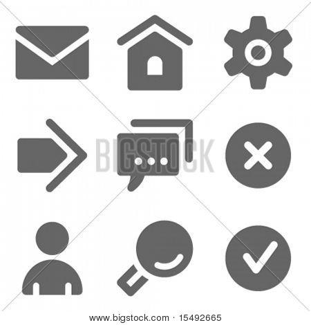 Serie sólida de los iconos, gris web básico