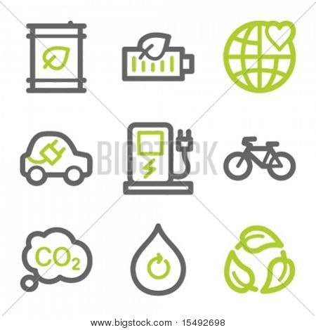 Ecology web icons set 4, green and gray contour series