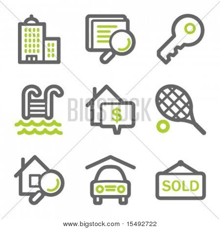 Real estate web icons, green and gray contour series