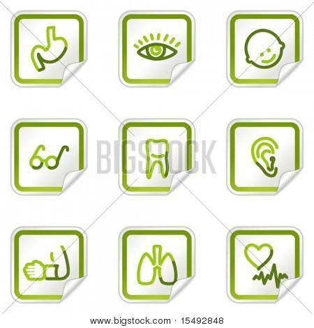 Medicine web icons set 2, green stickers series