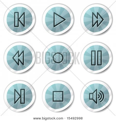 Walkman web icons, blue shine stickers series