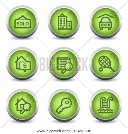 Real estate web icons, green glossy set