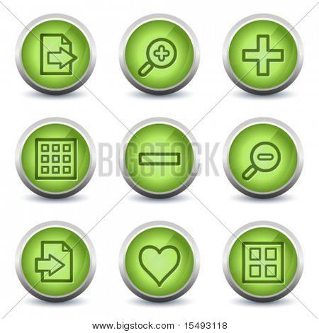 Image viewer web icons set 1, green glossy set