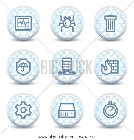 Internet security web icons, glossy circle buttons