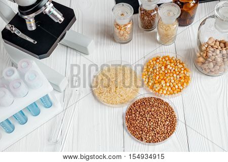 Laboratory for food analysis cereals test no one close up