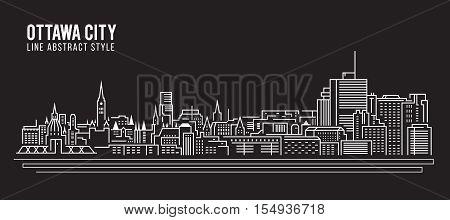 Cityscape Building Line art Vector Illustration design - Ottawa city