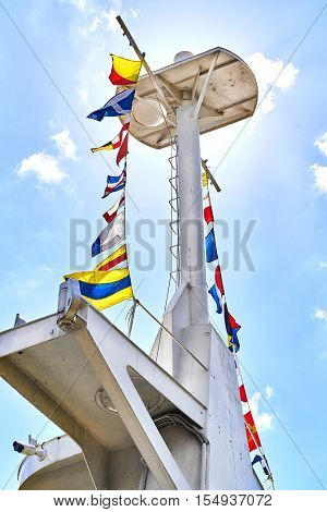 Mast against blue sky. Sunny day. Russia