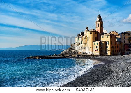 View of Camogli is a fishing village and tourist resort located on the west side of the peninsula of Portofino. Italian Riviera