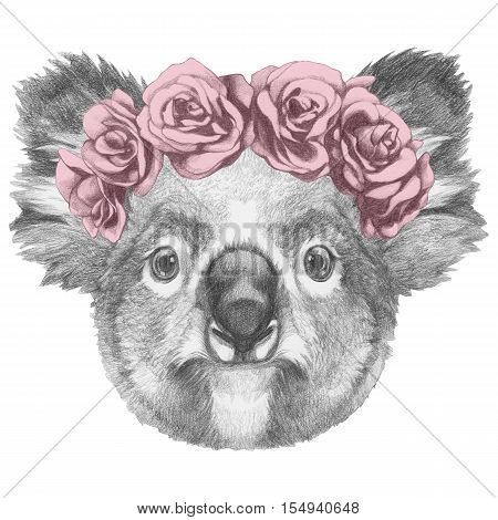 Original drawing of Koala with floral head wreath. Isolated on white background.
