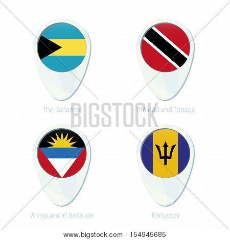 The Bahamas, Trinidad And Tobago, Antigua And Barbuda, Barbados Flag Location Map Pin Icon.