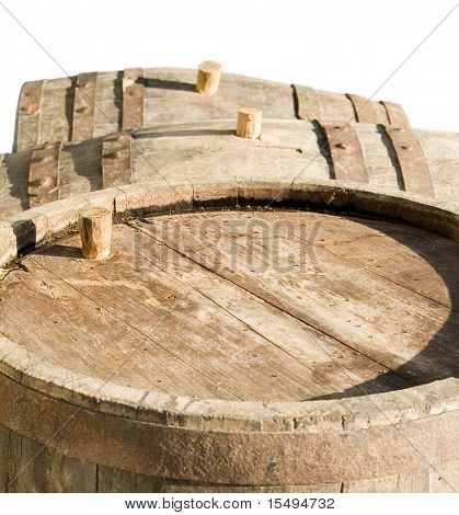 Old barrels for wine on a white background.