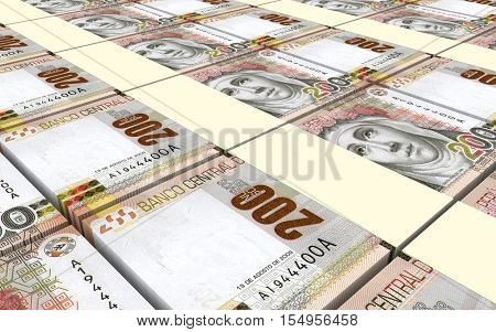 Peruvian nuevos soles bills stacks background. 3D illustration.